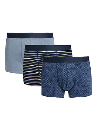 John Lewis & Partners Organic Cotton Tile Stripe Trunks, Pack of 3, Blue