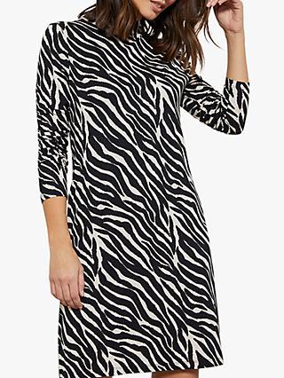 Mint Velvet Zebra Jerse Print Mini Dress, Ivory