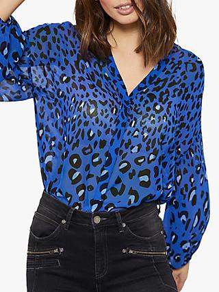 Mint Velvet Animal Print V-Neck Blouse, Blue/Multi