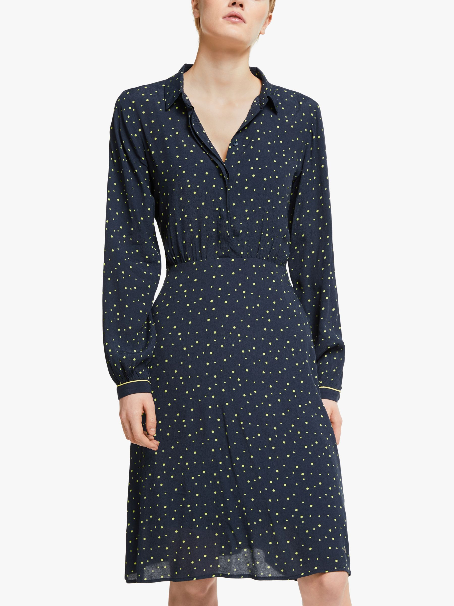 Numph Numph Nuailish Spot Print Shirt Dress, Sapphire
