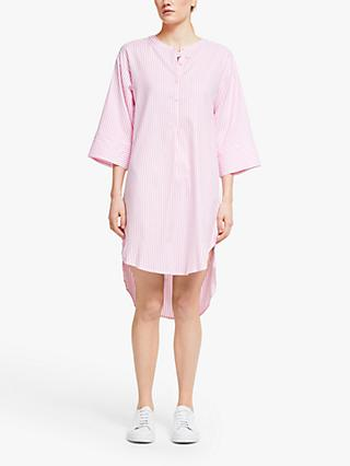 Numph Nuaiden Stripe Shirt Dress, Pink Carnation