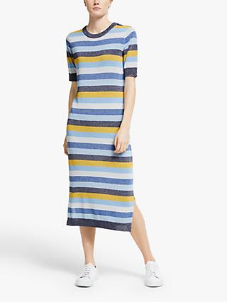 Numph Nua layah Stripe Knit Midi Dress, Sapphire