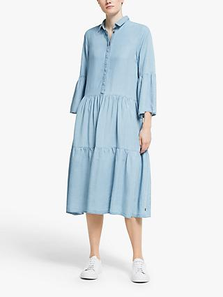 Numph Nuanna Tiered Midi Shirt Dress, Light Blue