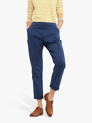 White Stuff Maison Cotton Trousers, Mid Blue