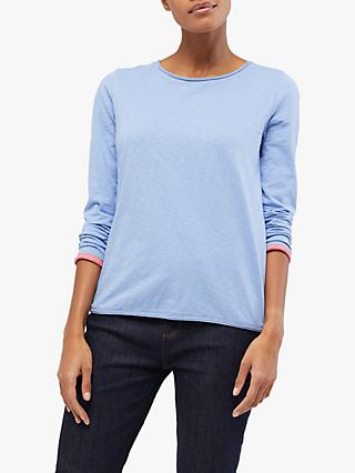White Stuff Carly Fairtrade Cotton Contrast Cuff Tee, Blue