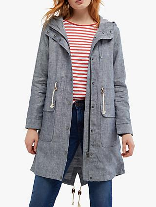 White Stuff Lily Linen Parka, Mid Grey