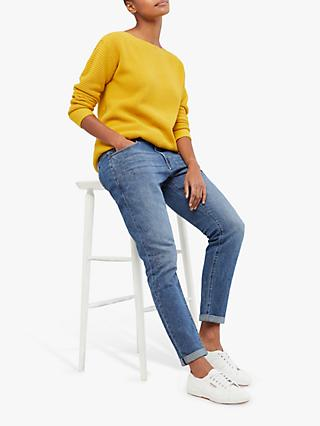 White Stuff Star Embroidered Boyfriend Jeans, Blue Denim