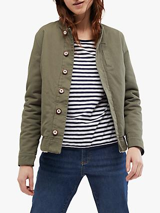 White Stuff Reversible Borg Jacket, Khaki/Multi