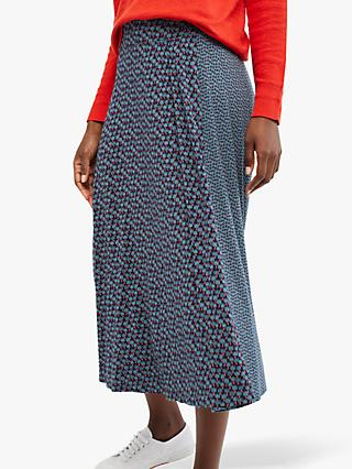 White Stuff Flower Bud Jersey Skirt, Ink Navy Print
