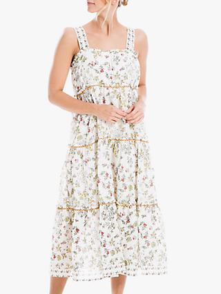 Max Studio Floral Print Tiered Dress, Eggnog/Red