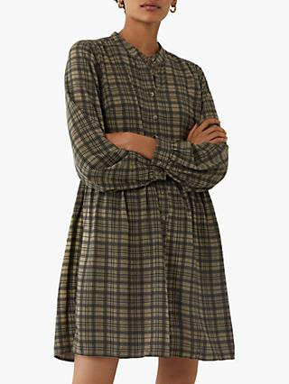 Warehouse Check Shirt Dress, Green