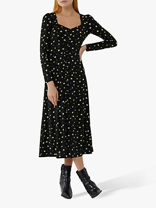 Warehouse Floral Midi Tea Dress, Black/Yellow