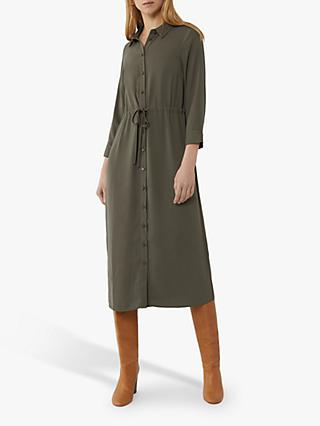 Warehouse Drawstring Midi Shirt Dress, Khaki