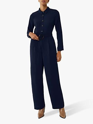 Warehouse Button Detail Wide Leg Jumspuit, Navy