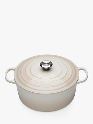 NEW - Le Creuset Signature Cast Iron Round Casserole, Meringue