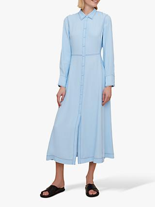 Jigsaw Button Through Dress, Arctic Blue