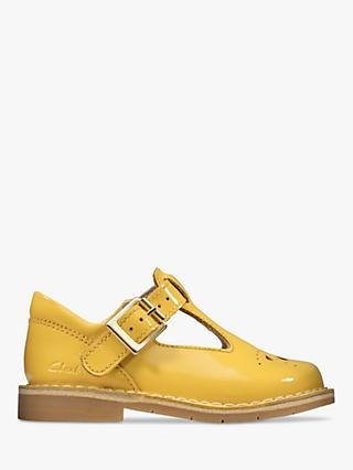 Clarks Children's Comet Weave T-Bar Patent Buckle Shoes, Yellow
