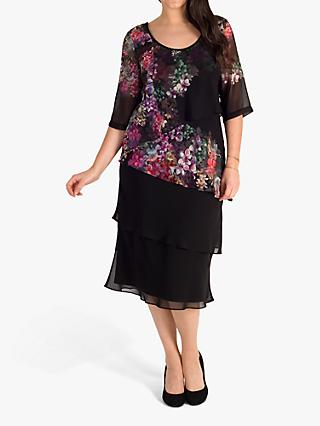 chesca Floral Print Layered Chiffon Dress, Black/Grape