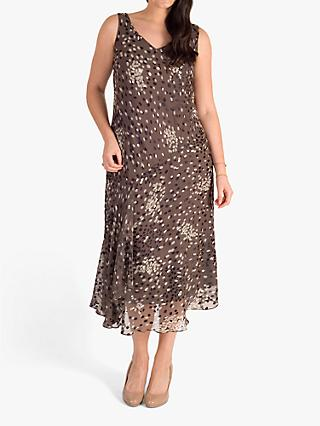 chesca Cluster Spot Satin Devoree Dress, Mocha/Cream/Black