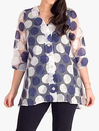 Chesca Spot Burnout Organza Shirt, Ivory/Navy