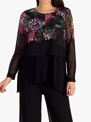 chesca Wisteria Placement Print Double Layered Top, Black/Grape