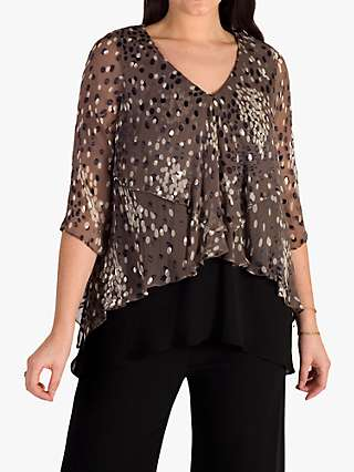 Chesca Cluster Spot Devoree Top, Mocha/Cream/Black