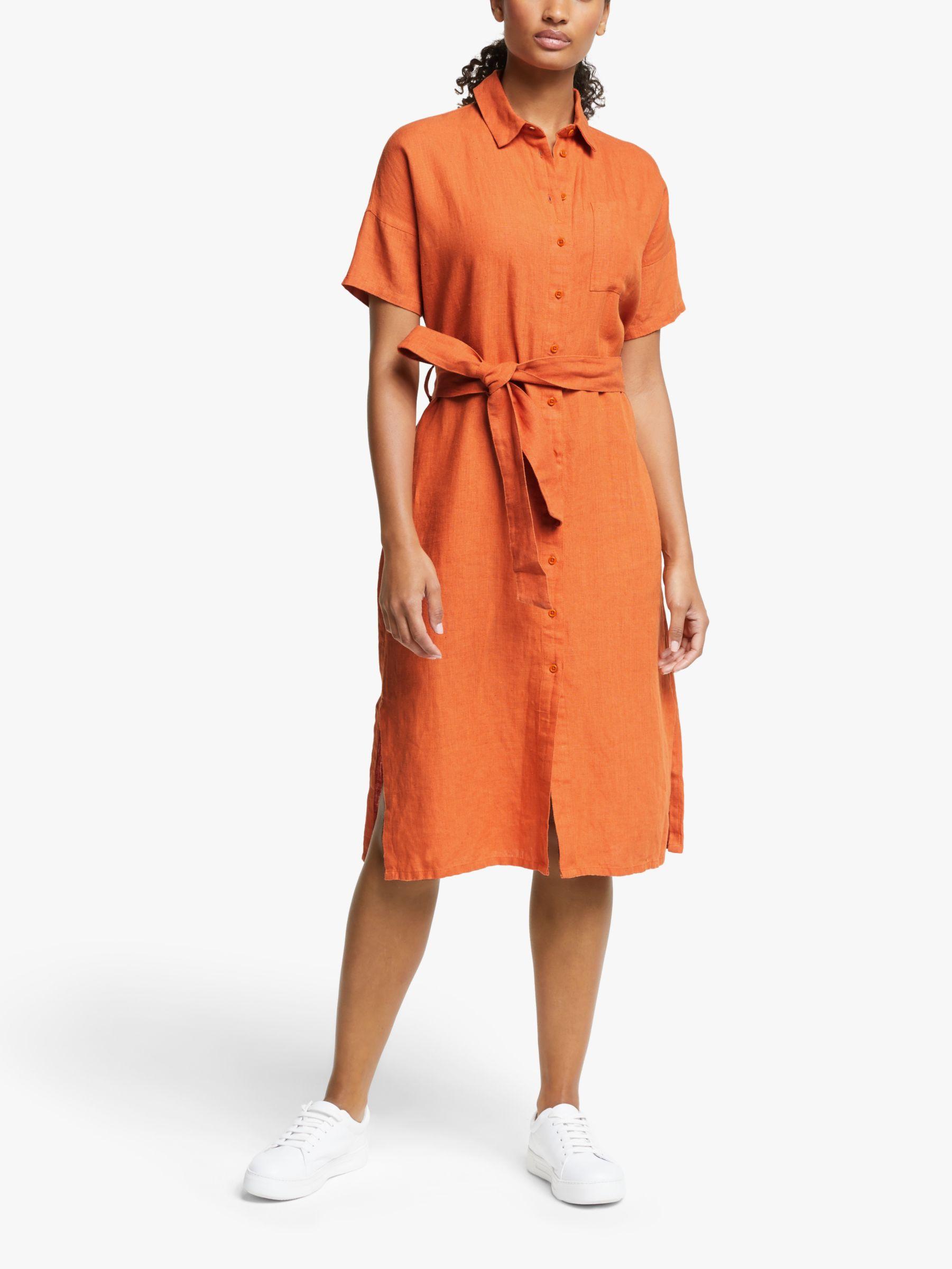 People Tree People Tree Leanora Linen Dress, Orange