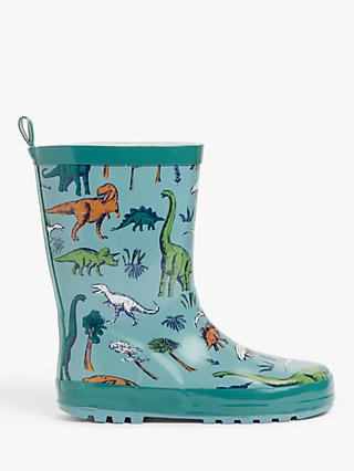 John Lewis & Partners Children's Dinosaur Wellington Boots, Light Green