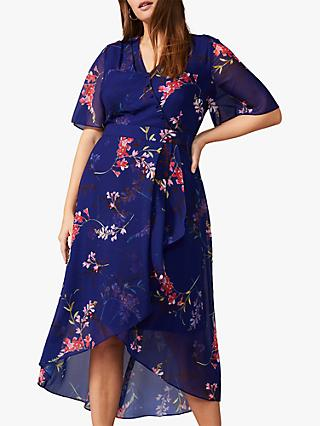 Studio 8 Evie Floral Wrap Dress, Cobalt/Multi