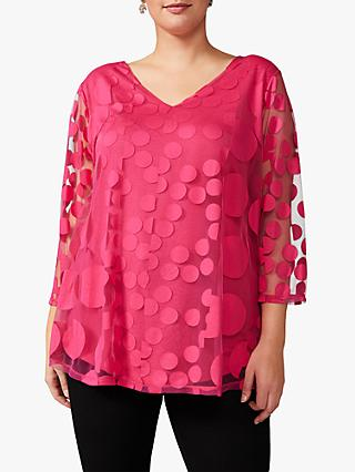 Studio 8 Ashanti Spot Burnout Top, Hot Pink