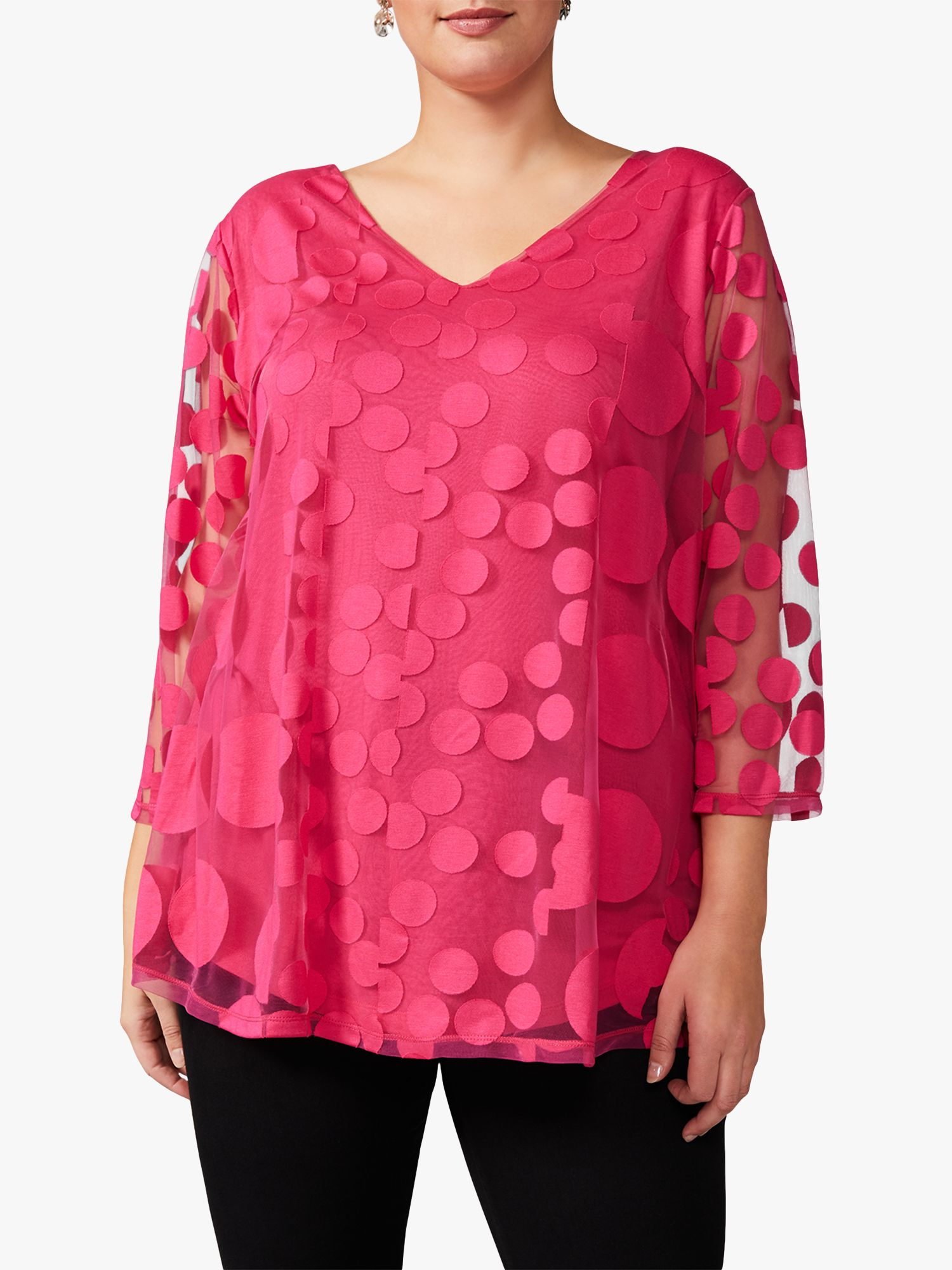 Studio 8 Studio 8 Ashanti Spot Burnout Top, Hot Pink