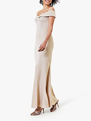 Oasis Bardot Satin Maxi Dress, Gold