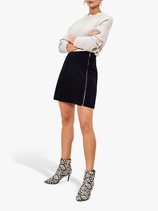 Oasis Ruffle Zip Cord Mini Skirt, Navy