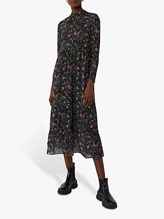 Warehouse Floral Mesh Midi Dress, Multi