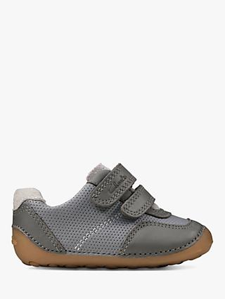 Clarks Junior Tiny Dusk Pre-Walker Leather Shoes, Grey
