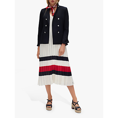 Tommy Hilfiger Icon Stripe Chiffon Midi Dress, Ivory/Red/White