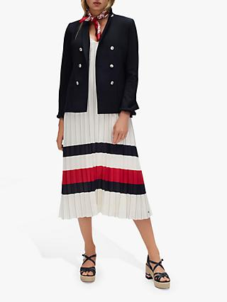 Tommy Hilfiger Icon Stripe Chiffon Midi Dress, Ivory/Red/White
