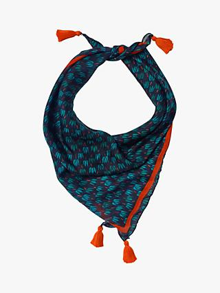 White Stuff Silk Square Neckerchief, Glassy Teal