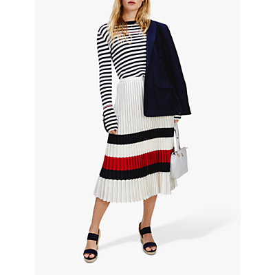 Tommy Hilfiger Icon Striped Pleated Skirt, Ivory/Red/Blue