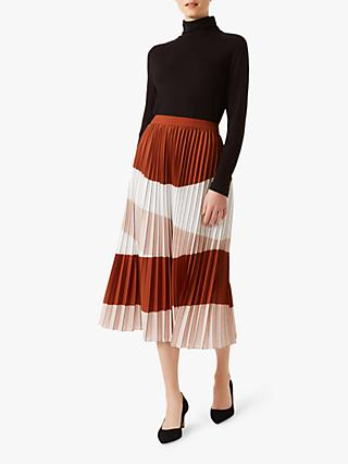 Hobbs Bess Pleated Skirt, Ivory Rust