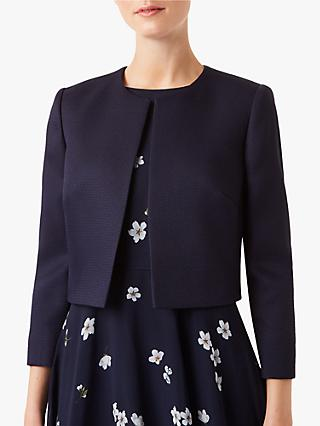 8 HOBBS LONDON Womens Three Button Cropped Blazer Bright Cobalt