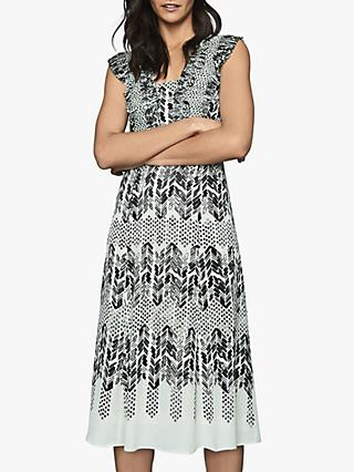 Reiss Avery Arrow Print Midi Dress, Aqua
