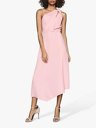 Reiss Delilah One Shoulder Midi Dress, Pink