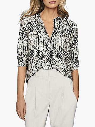 Reiss Malia Arrow Abstract Print Top, Black/White
