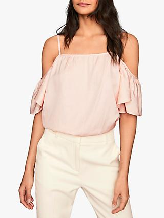 Reiss Emma Cold Shoulder Ruffle Detail Top, Pastel Pink