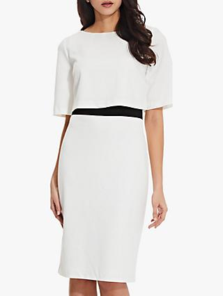Adrianna Papell Layered Sheath Dress, Ivory/Black
