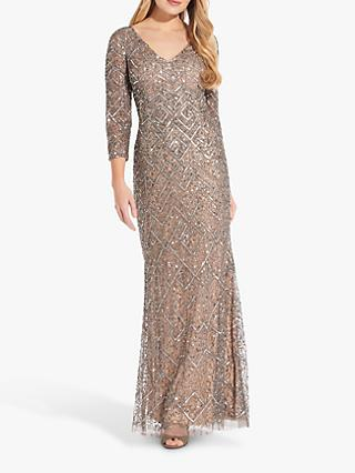 Adrianna Papell Metallic Maxi Dress, Mercury/Nude