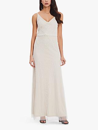 Adrianna Papell Beaded Blouson Gown, Ivory
