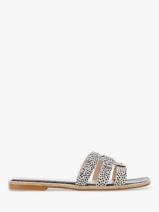 Mint Velvet Poppy Animal Print Leather Sliders, Black/White