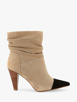 Mint Velvet Megan Suede Pointed Toe Cap Ankle Boots, Natural